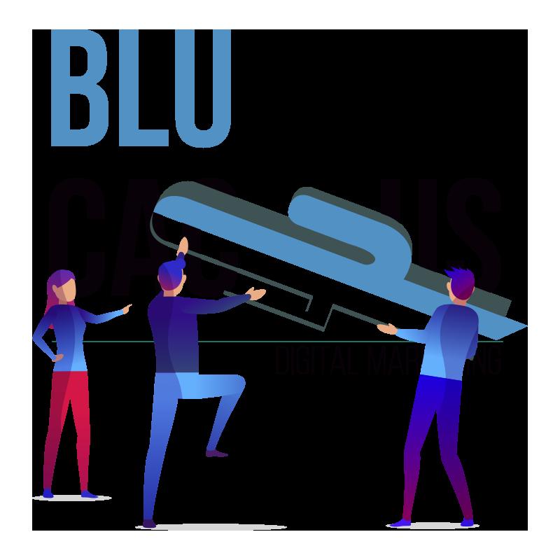 Blue Cactus - Oneline Marketing Bureau. 2 BluCactus medewerkers zetten de cactus in het logo van BluCactus