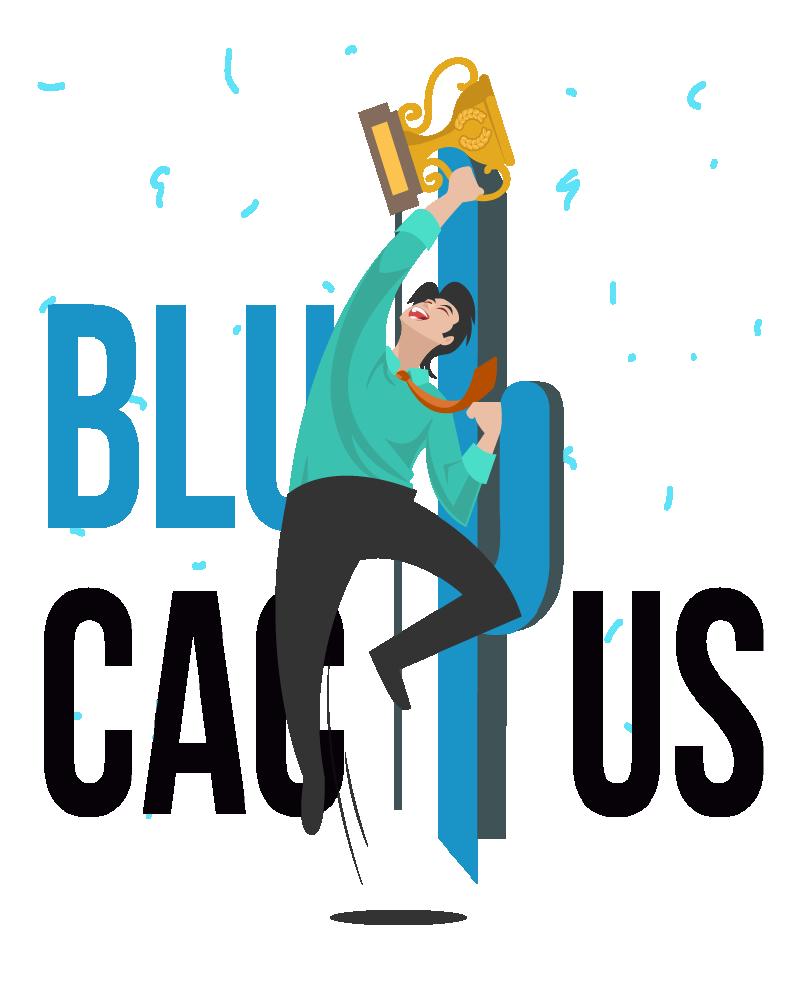 Blue Cactus - Oneline Marketing Bureau - Medewerker spring in de lucht naar het eerste succes van BluCactus