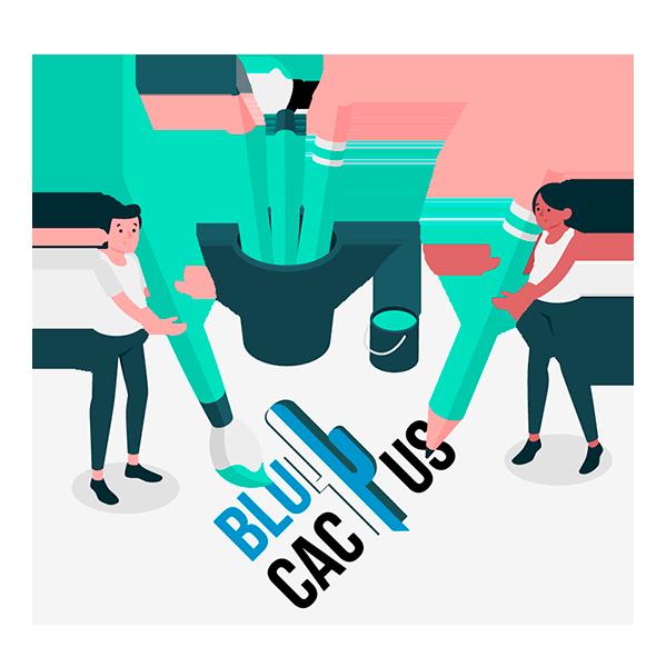 BluCactus - Logo ontwerpbureau - 2 ontwerpers tekenen een logo
