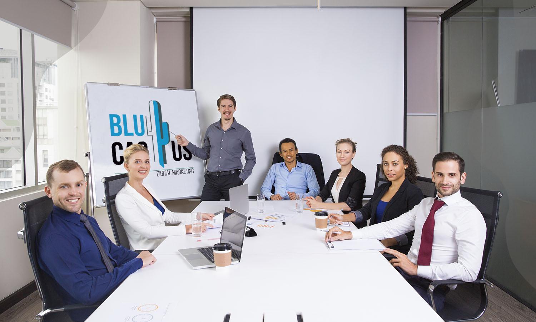 BluCactus - Presentatie bureau - 7 personen in een vergaaderruimte hebben een presentatie laten maken
