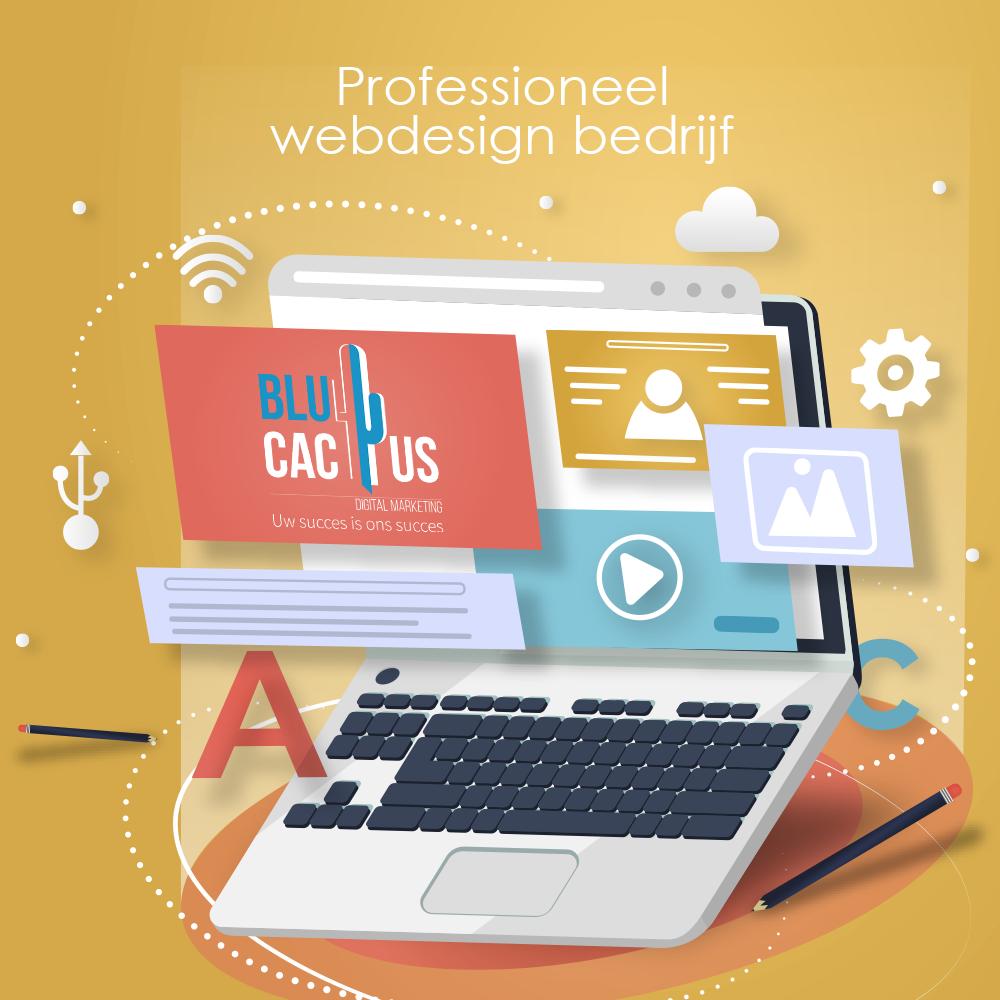 BluCactus professioneel webdesign bedrijf - 4 drijvende plaatjes op een laptop scherm