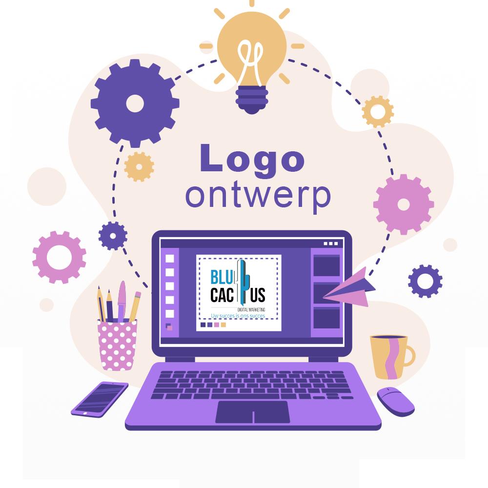 BluCactus - Logo ontwerp - Computer met grafisch programa