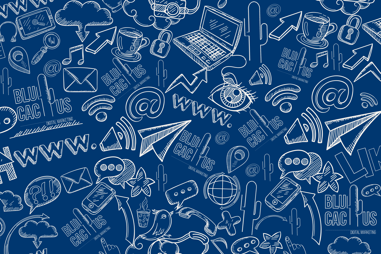 Blue Cactus - Oneline Marketing Bureau - Donker blauwe achtergrond met tekeningen