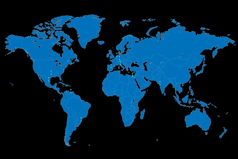 BluCactus wereld map met alle locaties