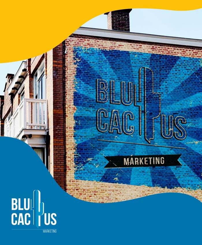 BluCactus Buitenreclame bedrijf. Advertentie geschilderd op een muur