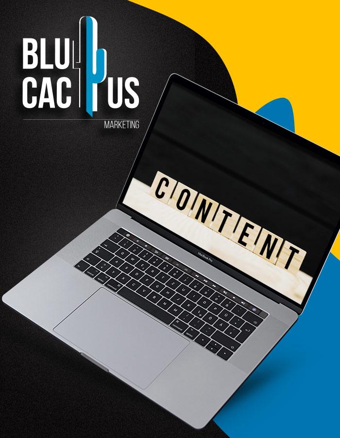 BluCactus - Laptop met houten blokjes op het scherm warop staat: Content