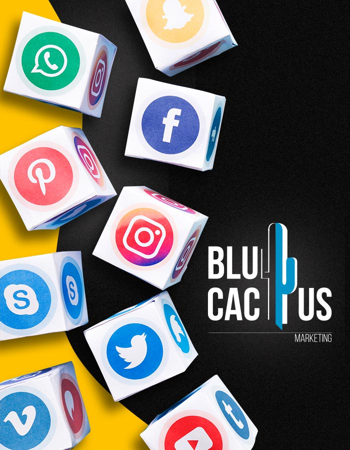 BluCactus - 9 dobbelstenen met social media logos - Social Media Marketing Bureau