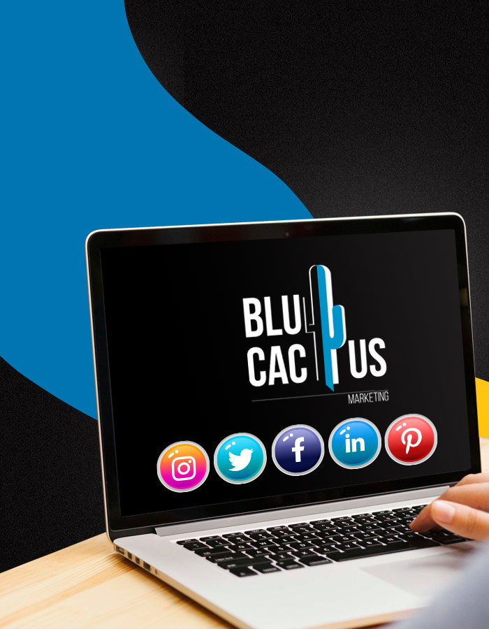 BluCactus - Laptop met het BluCactus logo en 5 sociale media marketing ikoontjes